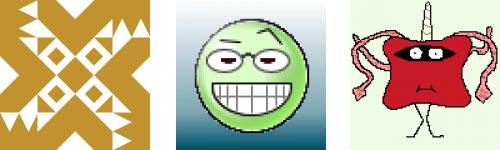 Captura de algunos ejemplos de avatares generados automáticamente, identicon, Wavatar y MonsterID