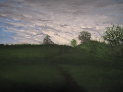 Over the Hill (Paintings By Timothy Lehr) Tags: trees winter sunset summer sky sun snow art fall beach water colors field clouds reflections painting golf hearts outdoors landscapes cow spring artist acrylic shadows handmade path lakes lion canoe pines rivers letchworth streams birch timothy westernnewyork springville lehr springvillenewyork