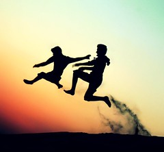 __You can only go as far as you push! (M.LQtr) Tags: sunset boys silhouette fun happy flying high jump jumping sand joy    czns 6lal 3mr