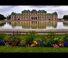 Still in Awestria (Nathan Bergeron Photography) Tags: vienna wien flowers reflection water fountain grass architecture clouds garden geotagged austria europe artist palace symmetry unesco worldheritagesite getty baroque picks easterneurope centraleurope thebelvedere republicofaustria yearin