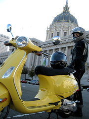 Little bit of moped (Petra Cross) Tags: sanfrancisco yellow vespa cityhall petra scooter duckie petka bubli zaskodnik popluharova petrapopluharova petracross