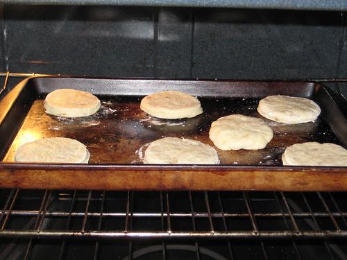 scones going in the oven