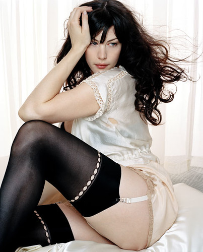 liv tyler in black stockings and a garter belt
