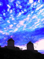 Mykonos, Greece, The Windmills of My Mind (moonjazz) Tags: cruise blue sunset sky nature windmill silhouette architecture clouds wonderful island greek fantastic superb tourist best historic greece dappled mykonos