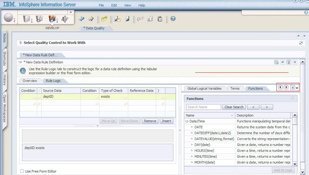 Information Analyzer 8.1.1 rule builder