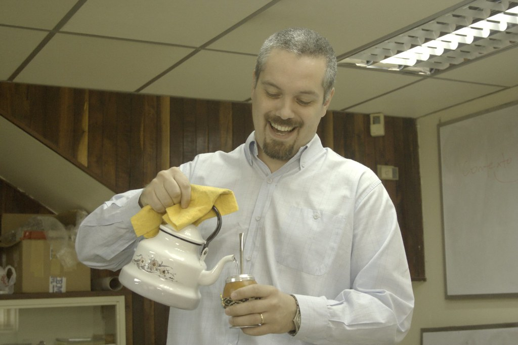 Pastor Bustamante enjoys yerba mate