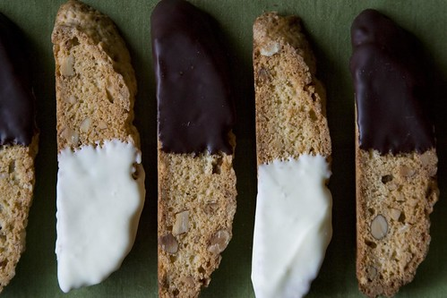 Chocolate-dipped almond biscotti