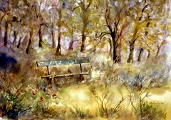 Art: watercolour: ...a dreaming place... (Nadia Minic) Tags: wood trees forest bench interestingness nadia place aquarelle dream bank arbres watercolour prairie luxembourg wald bume banc fort ort traum rve minic lieu lenningen endroit waldlichtung clairire nadiaart