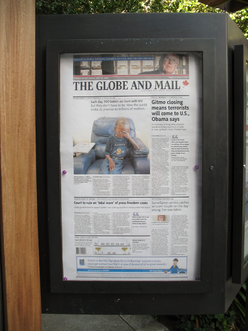 Globe and Mail on Display in Berkeley