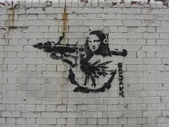 MONA LISA (JOHN19701970) Tags: city uk greatbritain england streetart london smile wall docks river graffiti stencil capital monalisa attack banksy weapon barbedwire docklands british rocket missile spraypaint monalisasmile launcher eastend rocketlauncher towerhamlets