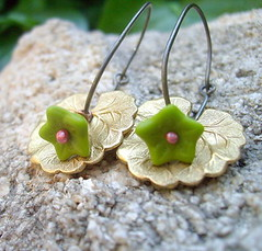Wasabi Hoops (yourtricolor) Tags: pink red flower green nature glass floral leaves gold leaf handmade jewelry jewellery earrings wasabi hoops brass dangle antiqued roseycopper