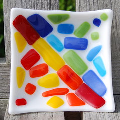 Hot and Cold - Little Glass Dish (FirstLightGlass) Tags: blue light red orange white hot cold green art apple glass yellow bag soap team candle candy dish tea turquoise first plate ring opposites attract lime etsy holder trinket fused cgge nfcr