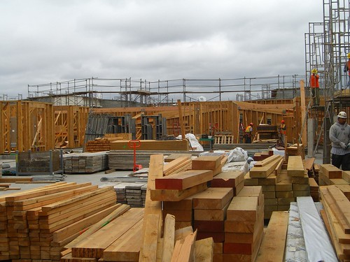 Timber frame under construction in Oakland