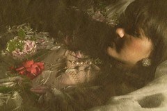(ambercarpentier) Tags: portrait water floral girl vintage dead soft pearls ethereal bangs peonies ophelia