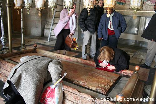Pedra da unção de Jesus onde foi colocado o seu corpo