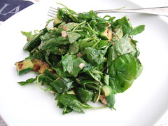 Spinach Arugula Salad with Warm Shallot Dressing
