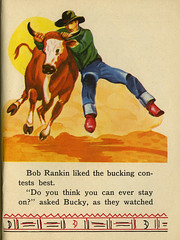 RIDE 'EM COWBOY_steer_tatteredandlost (T and L basement) Tags: book ride illustrations ephemera em publishing cowboysaalfied company1951childrens bookcowboy cowgirlrodeochildren