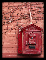 Fire Box (CanadianInvader) Tags: red urban brick alarm nature metal fire vines box newhampshire nh concord