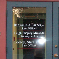 Law Offices of Benjamin A. Barnes, P.C. - Leigh Shepley Miranda - Cooley, Shrair (Seigel Signs) Tags: signs trafficsigns godfrey metalsigns woodensigns graphicsigns buildingsign outdoorsigns companysigns andsigns customsigns seigel retailsigns signssignage sandblastedsigns signdesign vinylsigns exteriorsignage interiorsigns rusticsigns personalizedsigns customledsigns custommadesigns lobbysigns acrylicsigns routedsigns aluminumsigns carvedsigns customdesignsigns custombusinesssigns signlettering customcargraphics backlitsigns outdoorsignletters custommetalsigns bannersigns customoutdoorsign customoutdoorsigns custompaintedsigns outdoorbusinesssigns customsigncompany customwoodsigns signsforbusiness carvedwoodsigns engravedsigns customstreetsigns giftsigns customwindowdecals affordablesigns plaquesigns seigelgodfreysigns godfreysigns westernmassachusettssigns massachusettssigns signtreatment customneonsigns metaloutdoorsign customwindowsign custommadeneonsigns customsigndesign customstoresign customlightedsigns