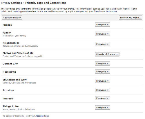 Privacy settings: Friends, tags, and connections page
