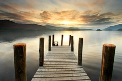 Derwent Water Jetty (midlander1231) Tags: sunset england sky lake mountains water sunrise landscape pier nationalpark jetty lakedistrict cumbria derwentwater keswick lakedistrictnationalpark borrowdale mywinners