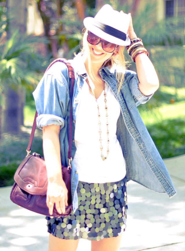 open   Denim shirt  + Paillette mini skirt + bangles