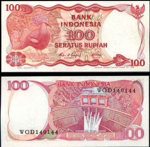 100 Rupiah Indonézia 1984, Pick 122