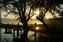 Sunset '09 (Ca-los!) Tags: blue trees sunset red brown sun reflection sol water postes mexico la agua arboles view el lagoon 09 tables rodeo poles laguna silueta puesta cerros refleccion mesas senor morelos xochicalco otw thechallengegame challengegamewinner xochicalpo