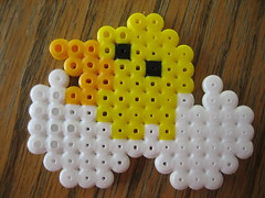 Perler Bead Chick (Kid's Birthday Parties) Tags: chicken project easter beads egg craft chick bead beading perler hatching hamabeads perlerbeads chickhatching