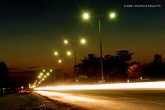 Bulb. (© Mauricio.) Tags: road trees sky cars luz ruta bulb noche nikon highway exposure arboles carretera motorcycles cielo autos nikkor motos foco exposición vr18200 d80 aplusphoto nightlightbulb