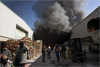 UNRWA warehouse on fire