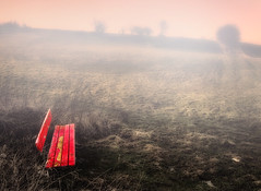 Take A Seat (Philipp Klinger Photography) Tags: trees red sky mist color colour tree colors field grass fog photoshop germany bench landscape deutschland nikon europa europe colours hessen seat horizon bad down sit take philipp colori farben hesse nauheim klinger wetterau takeaseat aplusphoto d700 vanagram