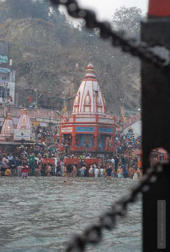 Banks of river Ganga with temples in the background