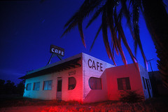 Streamlined Cafe (Lost America) Tags: arizona lightpainting abandoned film night cafe fullmoon urbanexploration artdeco strobe ue urbex solame