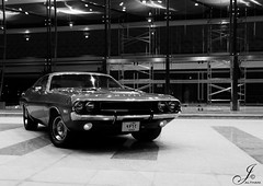 Old School .. (Al Thani 89) Tags: white black classic car blackwhite muscle d american dodge p 1970 ya challenger exibition doha qatar abo roo7 9362 althani89 jalthani ilrmsh