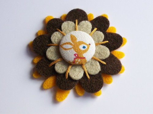 Japanese Baby Deer Felt Flower Brooch