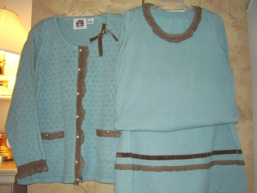 Knit 3-Piece Turquoise & Brown Lace by StoryBook Knits