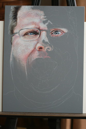 In progress colored pencil drawing of Kevin Lawver entitled Ultranormal II