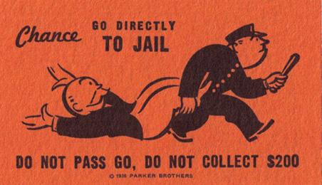 Captura de la tarjeta del Monopoly de Vaya a la cárcel y caya sin pasar por la casilla de salida y sin cobrar las 20000 pesetas