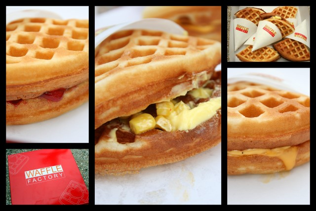 Waffle Factory's cherry, butter corn, and cheese waffles