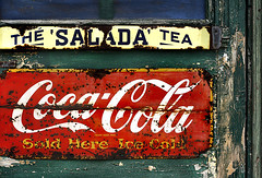 Sold Ice Cold (red_dotdesign) Tags: door sign metal vintage wooden rust peeling paint rusty rusted signage weathered cocacola saladatea
