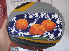 2 (ohyeth2008) Tags: stilllife painting myart oranges tulsa clementines oilpainting phases blueorange coolfabricpatterns lookatemlines