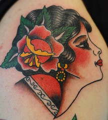 Traditional Girl Head tattoo by KeelHauled Mike (KeelHauled Mike) Tags: mike tattoo dc washington metro traditional maryland baltimore area gypsy girlhead blackanchortattoo keelhauledmike keelhauled wwwkeelhauledmikecom wwwblackanchortattoocom