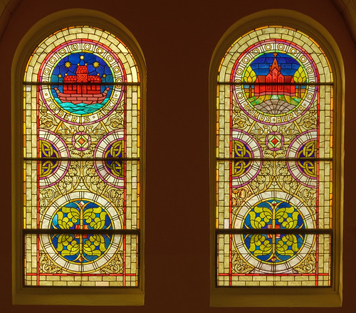 Saint Mary's Roman Catholic Church, in Fieldon, Illinois, USA - stained glass windows with titles of Mary 2