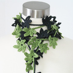 Petite Leaves Neck Garland Women Cotton Blend All Season Spring Summer Fiber Jewelry/Fiber Necklace/Lariat in Charcoal Sage (kanokwalee) Tags: light summer leaves scarf spring handmade unique crochet garland lariat necktie whimsical strands scarflette fiberjewelry fibernecklace allseasonwomen