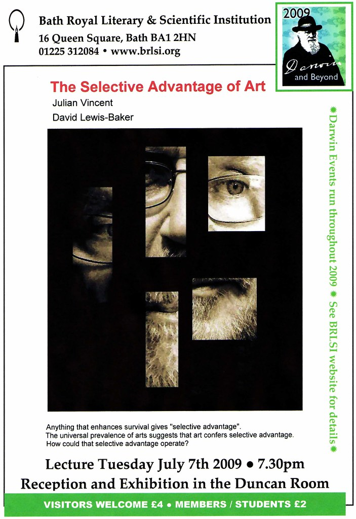 Poster for The Selective Advantage of Art Lecture/Exhibition - Bath