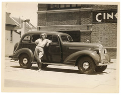 Film actor Helen Twelvetrees and her 1935 Pontiac, Cinesound Studios, Sydney, 1936 / Sam Hood (State Library of New South Wales collection) Tags: boots american thoroughbred filmstudio jodhpurs helentwelvetrees statelibraryofnewsouthwales bondijunctionsydneyaustralia