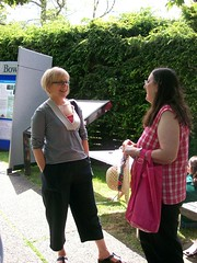 Oak Bay Councillor Pam Copley speaking with a member of the public