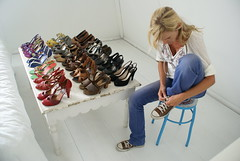 shoe collection (wood & wool stool) Tags: home colors shoes heels mode wit allstars peeptoe