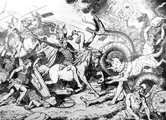 The Final Battle by Johannes Gehrts (Thorskegga) Tags: world old illustration book wolf european god north battle ragnarok gods serpent odin thor viking mythology pagan fenris norse germanic heathen heimdall asatru heathenry
